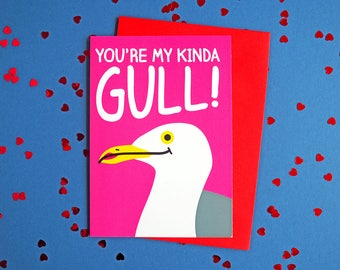 Valentines Day Card, Galentines Card, My Kinda Gull Card, Valentines Girl Card, Seaside Love Card, Funny Valentines Pun Card, Love Joke Card