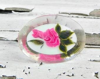 Vintage Pink Rose Reverse Carved Clear Lucite Brooch