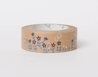 Japanese masking tape in kraft paper - flowers by Shinzi Katoh