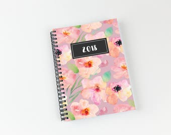 Writing journal, soft cover, book, blank spiral notebook, sketchbook, paper for notes, custom - floral watercolor pattern