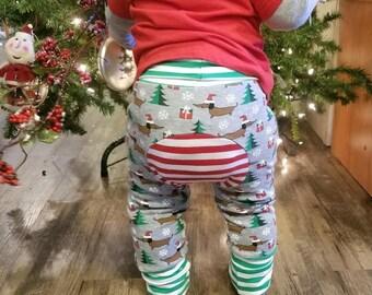 Custom Maxaloones - YOU PICK PRINT- Christmas - Grow With Me Pants - Cloth Diaper Pants - Baby Pants