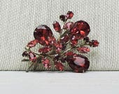 Vintage Style Jewelry, Retro Jewelry Vintage Red Rhinestone Brooch Rivet Construction 1940s $24.00 AT vintagedancer.com