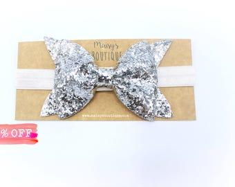 Large Silver Glitter Sparkle Bow Headband/ Hair Bow/ Hair Clip/ Newborn Bows/Nylon Headband/ Headband Set
