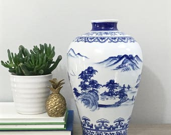 Vintage Blue White Chinese Vase Asian Porcelain Vase Chinoiserie Chic Preppy Decor
