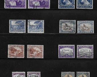 South Africa - Suid Afrika - Vintage Stamps (2A) - Lot of 26 stamps - each stamp has one issued South Africa and one issued Suid Afrika