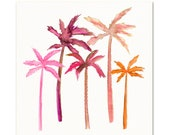 Tropical Palm Trees Art Print. Island Decor. Pink & Orange Watercolor Palm Trees. Coastal Decor. Beach House Art. Tropical Palm Beach Print.