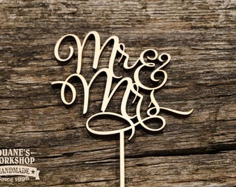Mr and Mrs Cake Topper script topper wedding cake topper shower topper wedding gift DIY or painted gold silver copper rose metallic glitter