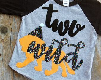 Two Wild Birthday Raglan, Party Animal Birthday Shirt, Second Birthday Shirt, Lion Birthday Raglan