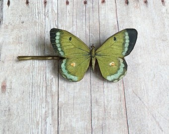 Green Butterfly Hair Accessory Pin Barrette Insect Accessories