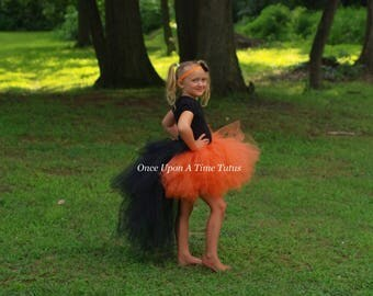 Orange and Black Bustle Tutu - All Sizes Newborn 3 6 9 12 Months 2T 3T 4t 5t 6 7 8 10 12 Teen Adult Kids Birthday Skirt - Halloween Costume