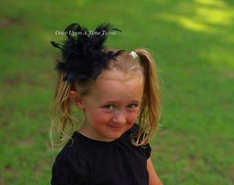 Black Feather Hair Clip - Boa HairBow - Newborn Baby Fascinator - Little Girls Hair Bow - Halloween Costume Hair Accessory - Ready To Ship