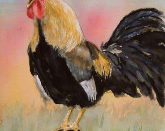 Sale Crowing Rooster - original watercolor barnyard rooster kitchen art