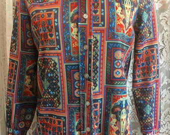 Small Vintage 1970s Polyester Groovy Blouse Shirt