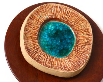 Purbeck stoneware bowl - fritte glass - 1970s Poole Pottery Troika style - retro home desk decor - brutalist studio pottery