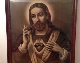 Antique Framed Religious JESUS Christ Sacred Heart Print Vintage