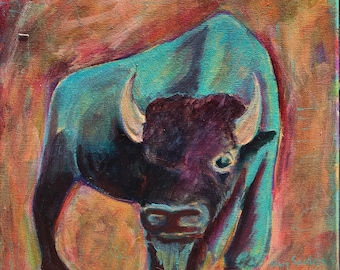 Buffalo Study #6 Original 12x12 painting
