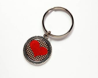 Heart key ring, key chain, keyring, stocking stuffer, gift under 10, red Heart, Valentines Day Gift, Wedding Favor, houndstooth (7704)