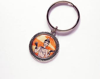 Flapper Key ring, 1920s Flapper keychain, keychain, Stocking Stuffer, gift for her, Flapper, Roaring Twenties, 1920s, orange (7710)
