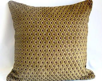 """Green cut velvet with brown dot, 20"""" pillow"""