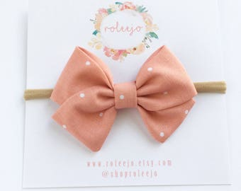 Salmon Polka dot Sailor Bow; Baby Girl, Toddler, Girl Hair Accessories