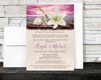 Beach Honeymoon Shower Invitations - Lily Seashells Sand Magenta Plum Pink Purple Rustic Wood Dock - Seaside Tropical - Printed Invitations