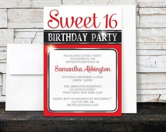 Sweet 16 Invitations - Red and Silver Classy design Sweet Sixteen Party - Printed Invitations