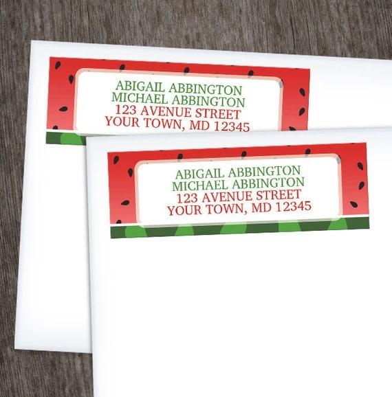 watermelon return address labels red green spring or summer fruit
