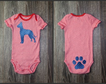 Pick your DOG!  Gender neutral custom baby bodysuit with dog breed of your choice.  Pick your fabric!  Many more options.