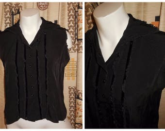 SALE Vintage Blouse 1950s 60s Black Ruffled Sleeveless Blouse Lace Velvet Trim Ruffles Tuxedo Rockabilly M chest to 37 in