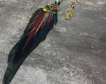 Teal & Bronze Feather Detailed Earrings