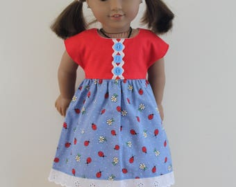 Red Blue Sleeved Dress Dolls Clothes to fit 18 inch dolls to 20 inch dolls such as American Girl & Australian Girl dolls