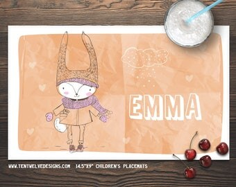 SWEET HARE Personalized Placemat for Kids - Children's Placemat, Personalized Kid's Gift, Fast Shipping - hare, girl, sweet
