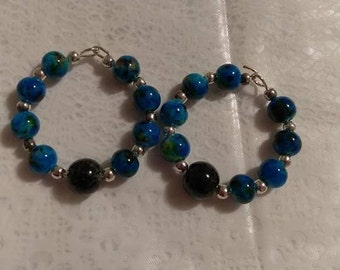 Blue Multi Hoop Earrings