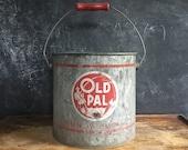 Old Pal Galvanized Metal Bait Bucket Fishing Pail Red Wood Handle