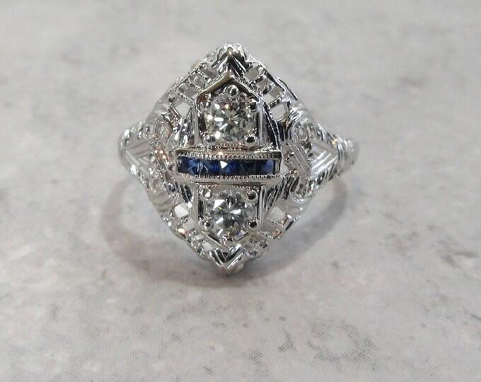 White Gold Diamond and Sapphire Filigree Ring, Antique Diamond and Sapphire Ring, Antique Filigree Ring, Sapphire and Diamond Ring