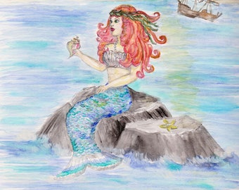 Mermaid Watercolor Print, Siren of the Sea Painting, Nautical Girls Decor, Ocean Wall Art, Galleon Ship Picture, Mythical Fish Woman Legend