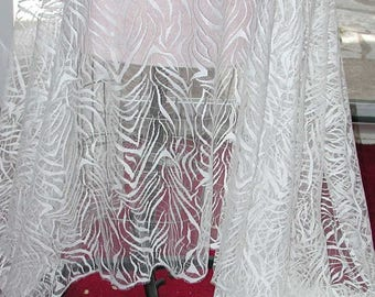 """No. 300 White Solstiss Chantilly Lace; ART DECO Design, Double Scalloped 4 Yards and 29"""" x 54"""" Wide"""