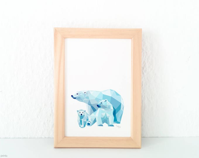 Polar bear family print, Bear illustration, Nursery art, Baby bear illustration, Geometric print, Animal family, Bear cub, Mother Baby art