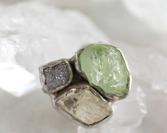 20% OFF SALE peridot ring, diamond ring, sunstone ring, recycled silver, statement ring, oregon sunstone, raw gemstone