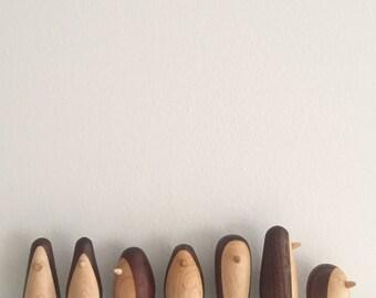 3 penguin figures, wood wooden penguins handmade