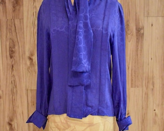 1980s Royal Blue Oleg Cassini Blouse, Eighties Long Sleeve Flowy Button Down, Designer Vintage Blouse w/ Scarf Belt, Patterned Silk Shirt