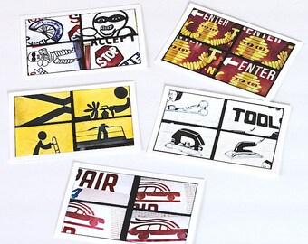 4 Up Urban Art Postcard Set, Photo Postcards, Colorful Street Art Photography