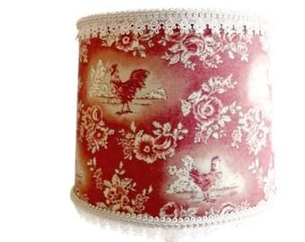 Country French Decor, Farmhouse Decor, Kitchen Rooster Lamp Shade, French Farmhouse Kitchen Fabric Lampshade, French Country Decor Lampshade