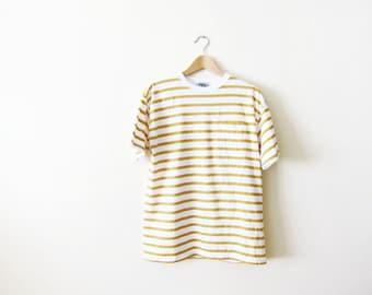 90s shirt - striped shirt - grunge shirt - gold yellow mustard shirt - grunge clothing - striped shirt Medium - pocket t shirt