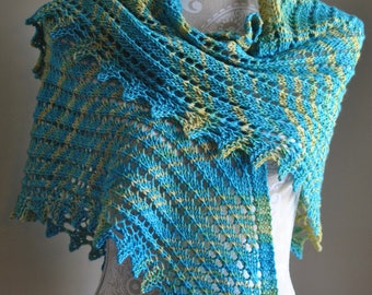 Handmade Shawl in Sea Blue Hues, Hand Knitted Shawl, Extra Large Triangle Shape Shawl, Gift for Her, Women's Clothing Accessory