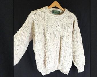 Vintage 1990s Cream Aran Knit Fisherman's Jumper Crew Neck Cable Knit - Size 14UK
