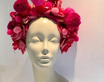 Pom pom headpiece -Pom pom Headband- Burner style- Festival wear- Pom pom Headpiece -Frida Kahlo- Dia de los Muerto- Pink Pom poms
