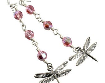 Pink Crystal Sterling Silver Dragonfly Earrings