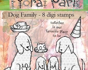 Dog Family - 8 digi stamp bundle