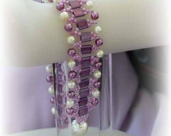 purple tila beads woven cuff bracelet lavender seed beads bracelet white lavender pearl bracelet unique beadwork jewelry gifts for her